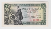 España 5 Pesetas 15-Junio-1.945 Plancha