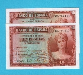 España 5 Pesetas 1.935 Plancha Pareja correlativa